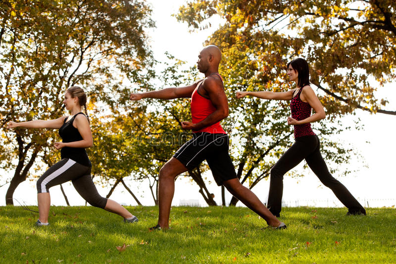 Karate. A group of people practicing martial arts in the park royalty free stock photography
