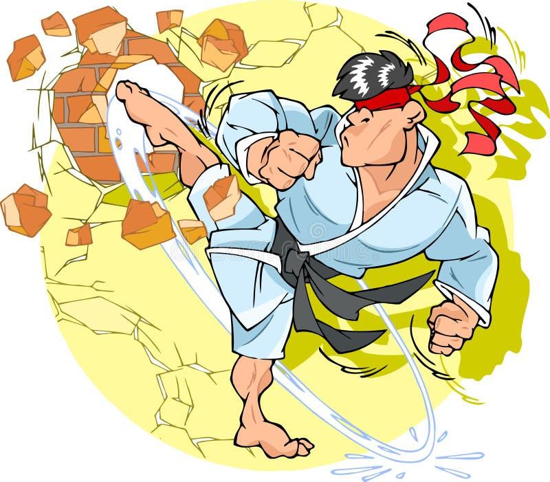Karate. Man karate in a kimono destroys wall stock illustration