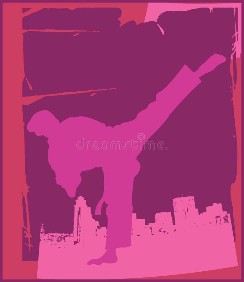 karate 4 poserar royaltyfri illustrationer