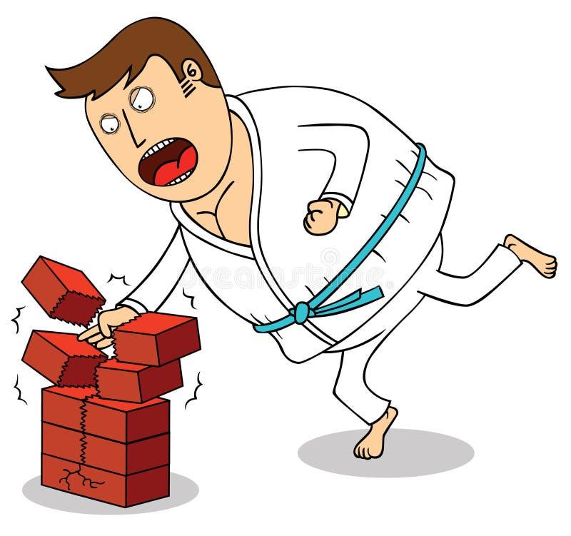 Karate - avbrott av tegelstenar royaltyfri illustrationer