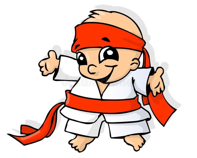 Karate baby. Little boy in karate kimono royalty free illustration