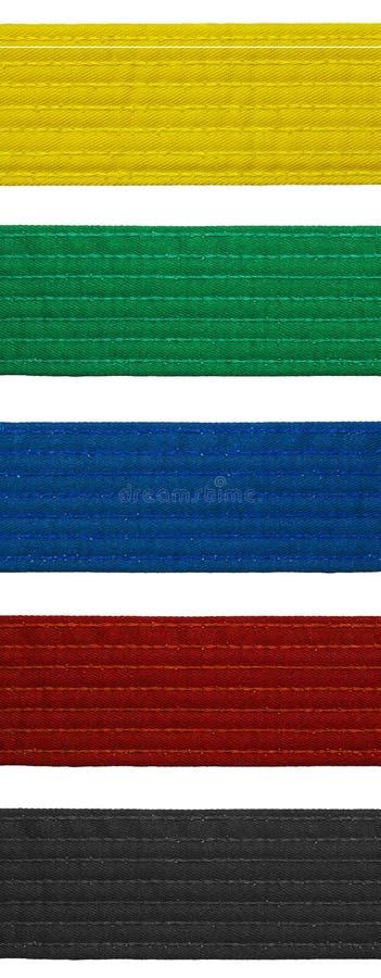 Karate Belt Set Five Belts Royalty Free Stock Photo