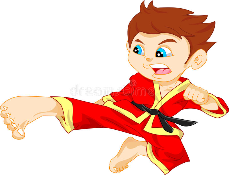 Karate boy. Illustration of cute karate boy royalty free illustration