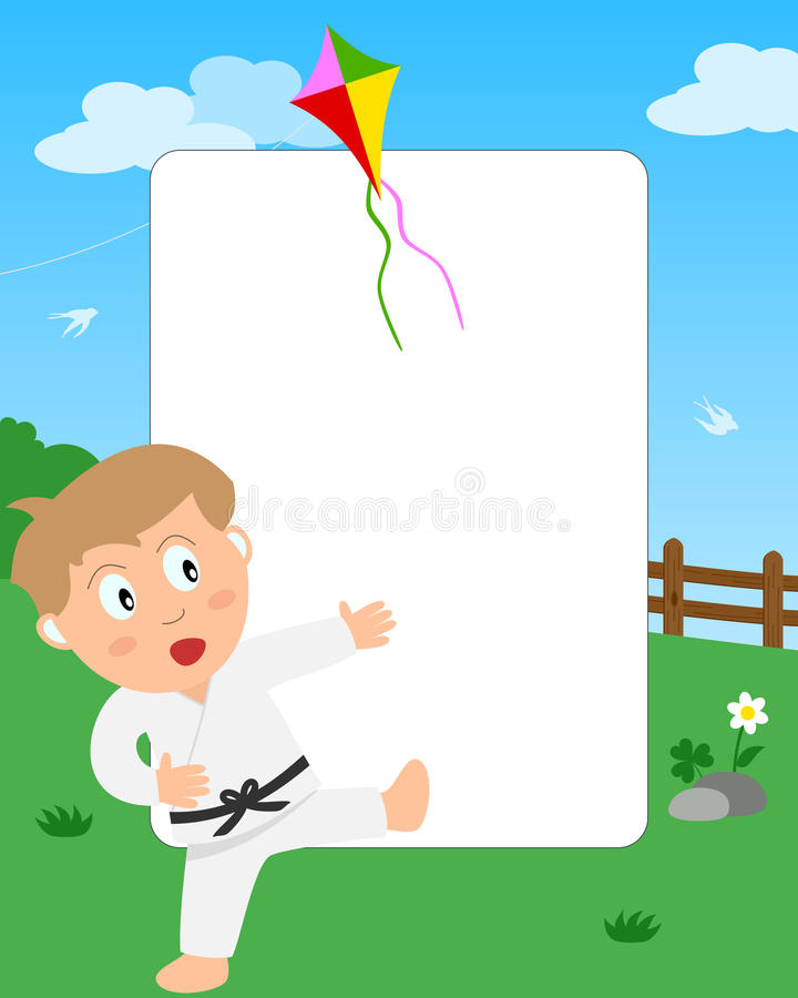 Karate Boy Photo Frame stock illustration