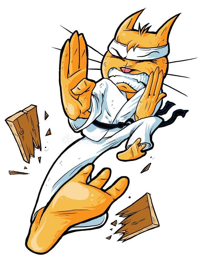Karate Cat. Cat Ninja kicking a plywood with a karate kick royalty free illustration