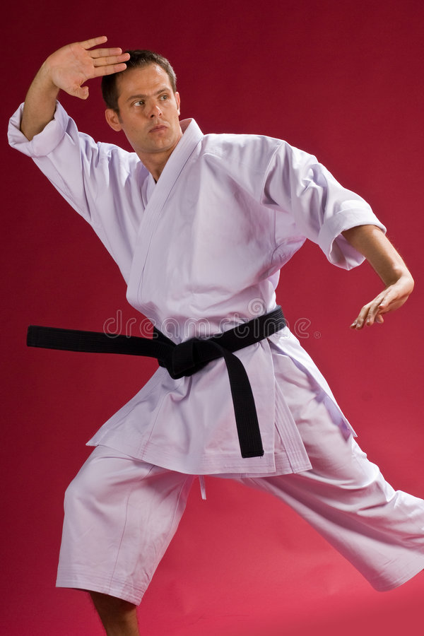 Karate chop. A Model in a Karate Kimono with black belt(level) in a chop pose, on a red background stock photos