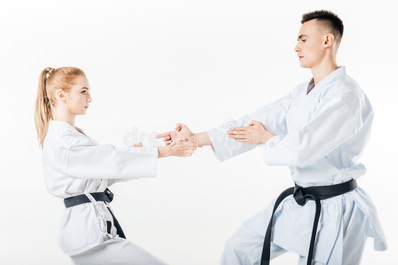 karate de vechters die zich binnen stelt bevinden stock foto