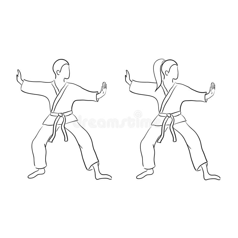 Karate Doodle Man And Woman Stock Vector Illustration Of