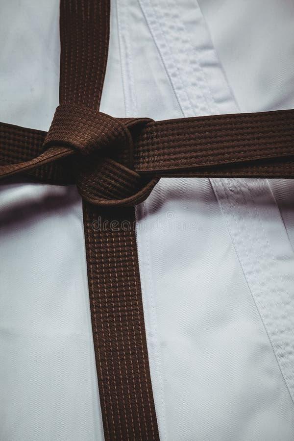 Karate eenvormige en bruine riem stock fotografie