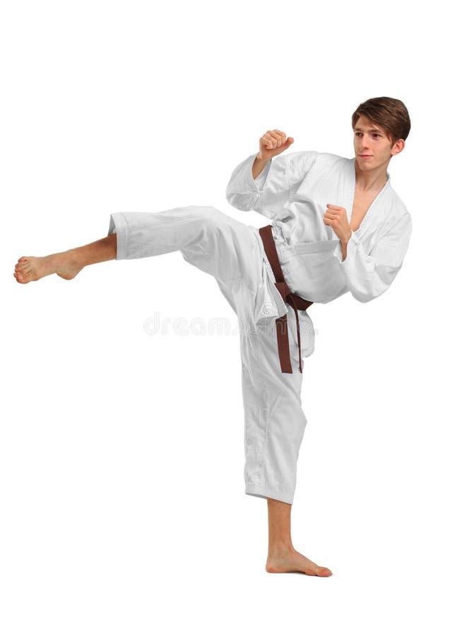 karate Ein Mann führt einen Durchschlag durch Getrennt auf weißem Hintergrund lizenzfreies stockbild