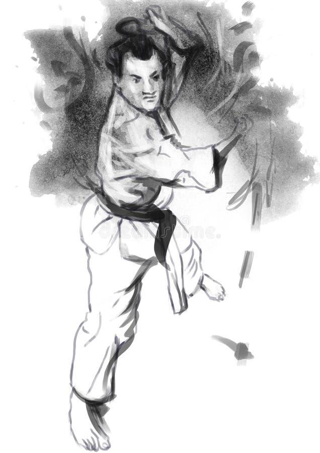 Karate - ejemplo (caligráfico) dibujado mano stock de ilustración