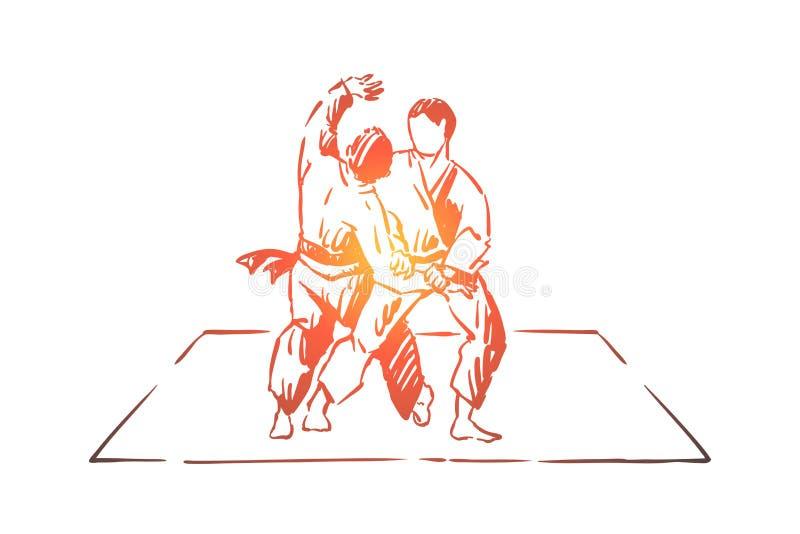 Karate eller judon som munhuggas, traditionella orientaliska kampsporter, unga kämpar i övande footboard för kimono stock illustrationer