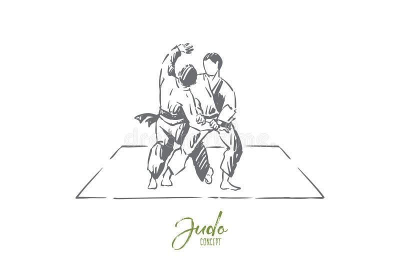 Karate eller judon som munhuggas, traditionella orientaliska kampsporter, unga kämpar i övande footboard för kimono vektor illustrationer