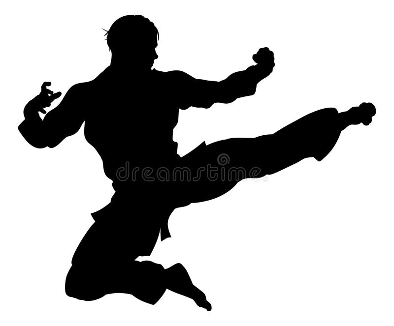 Karate eller Kung Fu Flying Kick Silhouette vektor illustrationer