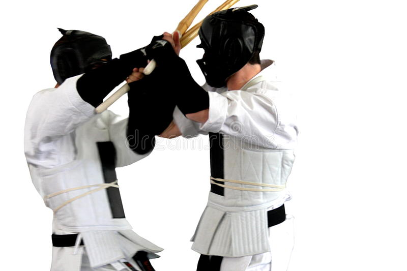 Karate fight ( kumite), sports series. Isolated stock photography