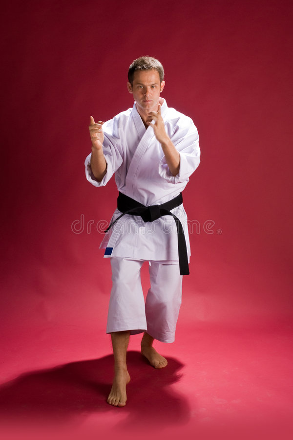 Karate fighter. A man wearing a white kimono with black belt, ready to fight royalty free stock images