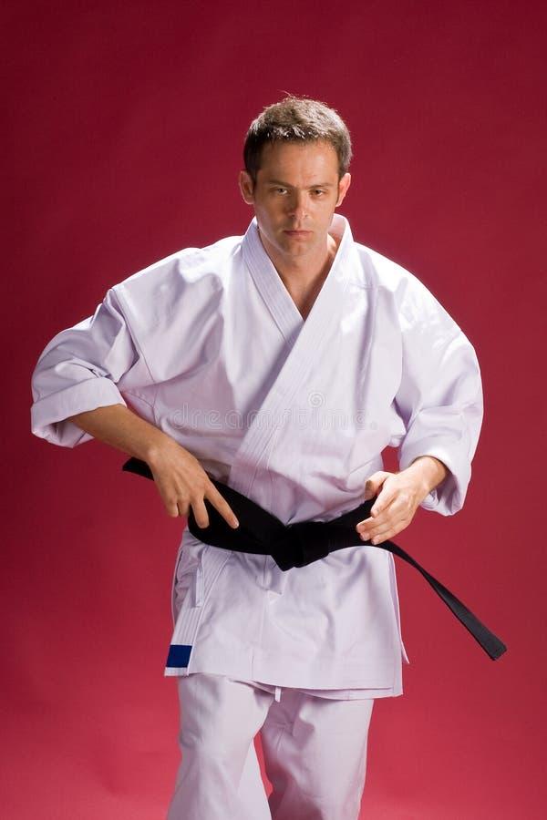 Karate Fighter. Male black belt Karate fighter wearing a Gi (Karate uniform royalty free stock photos