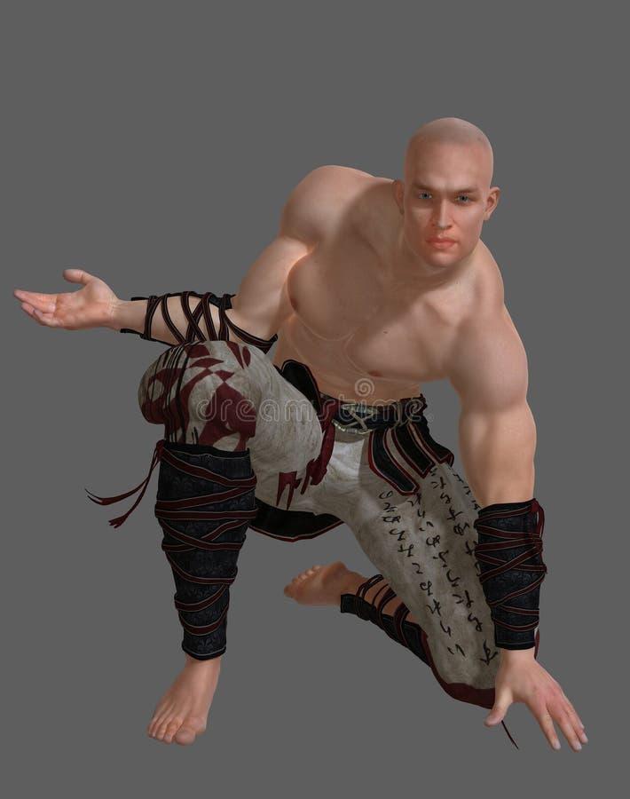 Karate Fighter kneeling stock photography