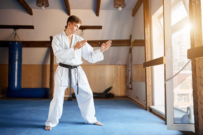 Karate Fighter practises fight in martial arts gym royalty free stock photo