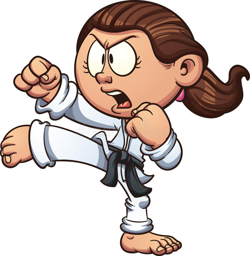 Karate girl. Cartoon girl practicing karate. Vector clip art illustration with simple gradients. Head, front arm, ponytail and body on separate layers stock illustration