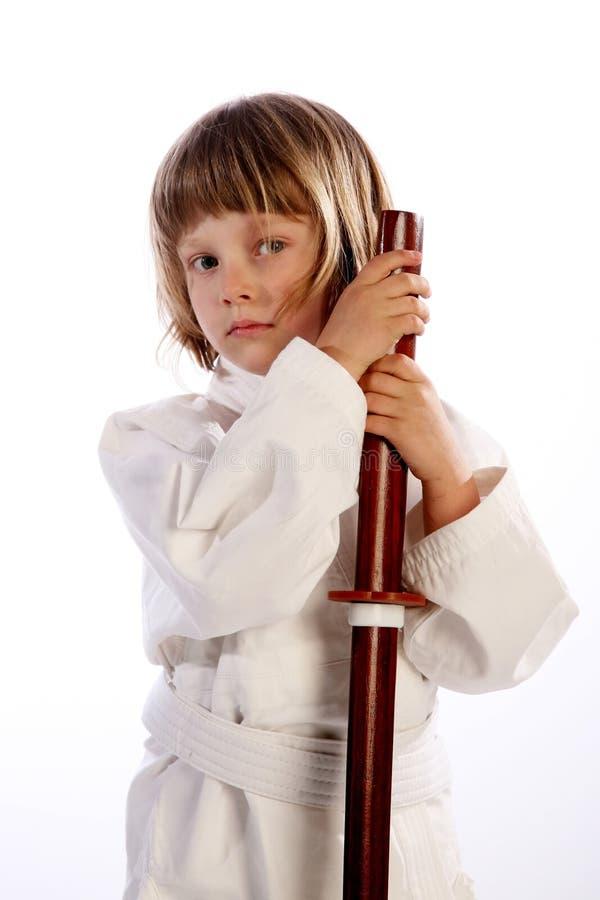 Karate girl in kimono, royalty free stock photo