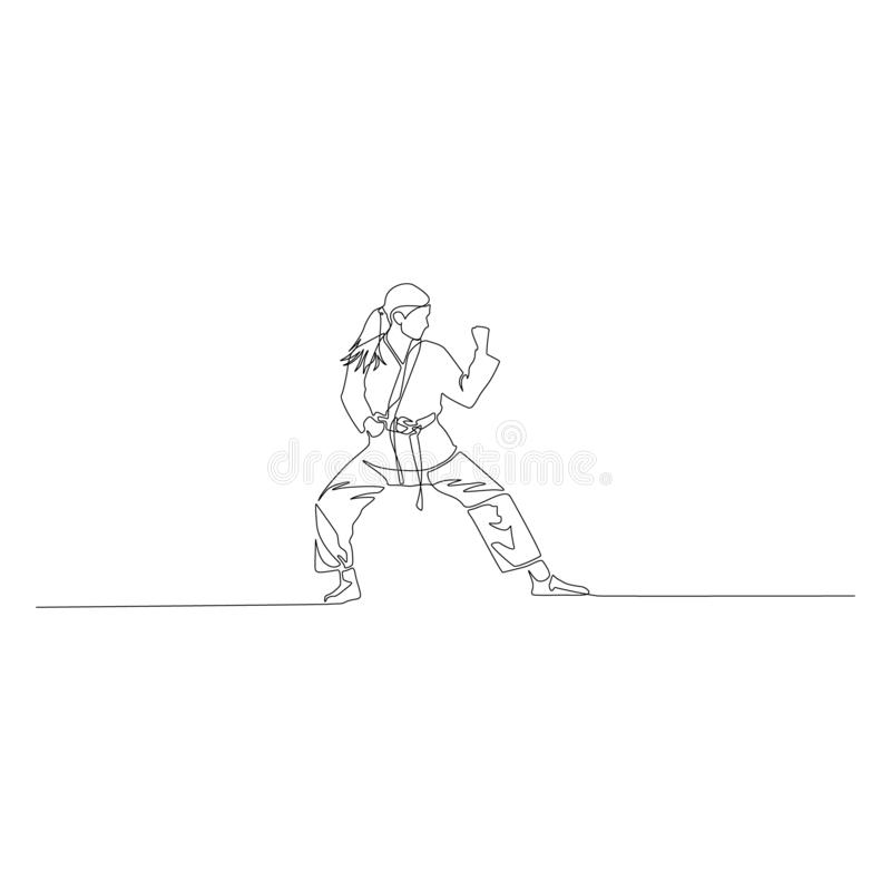 Karate girl is standing in a fighting pose continuous line drawing. Vector illustration. royalty free illustration