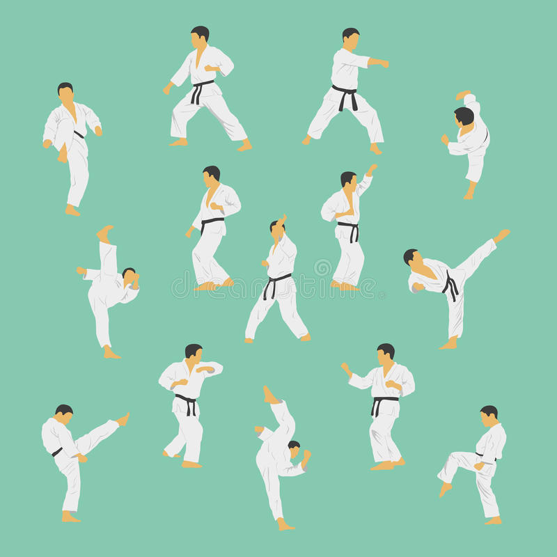 Karate. Group of the men showing karate stock illustration