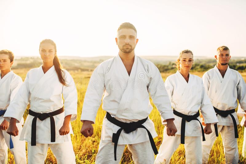 Karate group in white kimono, workout in field royalty free stock photography