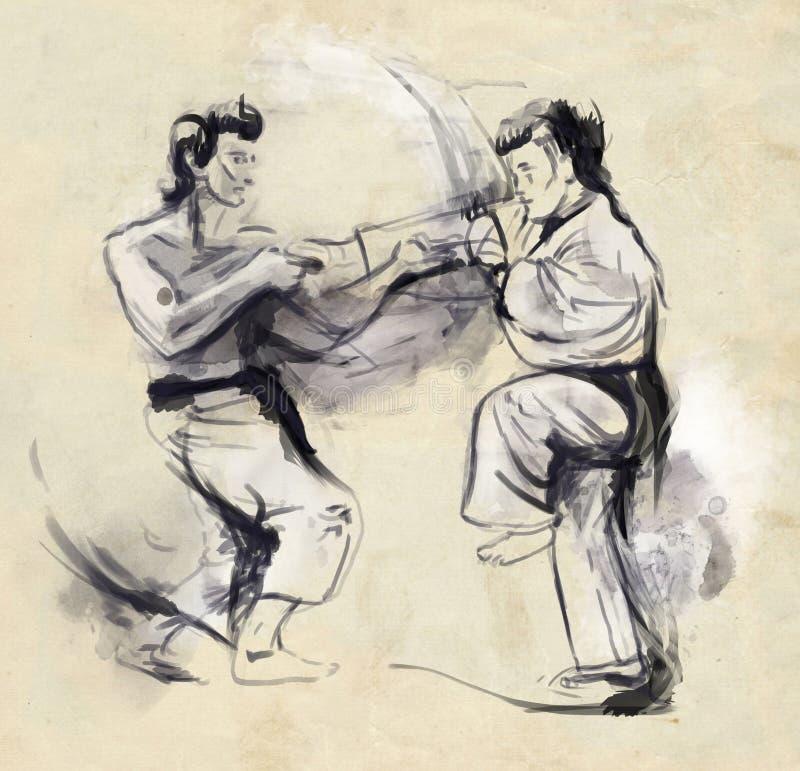 Karate - hand dragen (calligraphic) illustration stock illustrationer