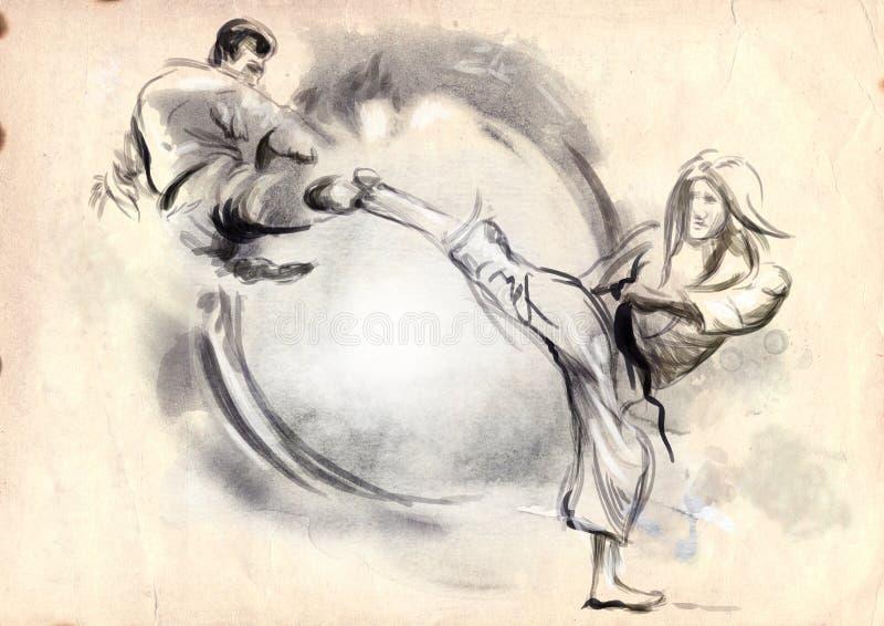 Karate - hand dragen (calligraphic) illustration royaltyfri illustrationer