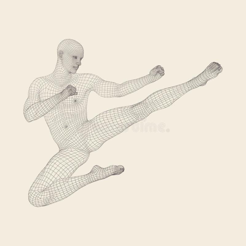 Karate i kung fu Karate skoku kopnięcie figurka 3D model mężczyzna ludzkie ciało majtek szczupła kobieta Sporta symbol ilustracji