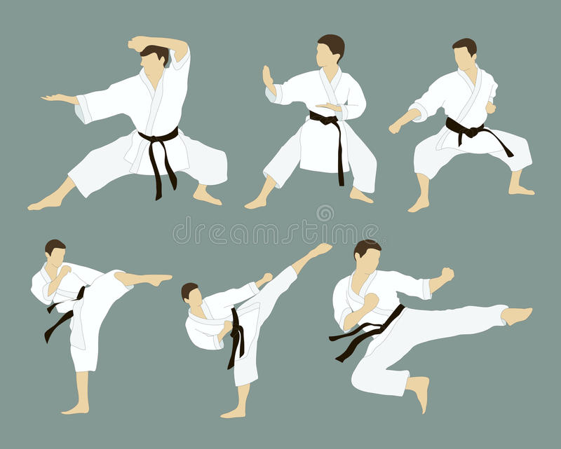 Karate icon set. Set of six vector icons of full body man doing powerful kicks and punches on grey background. Applicable to Karate and Taekwondo vector illustration