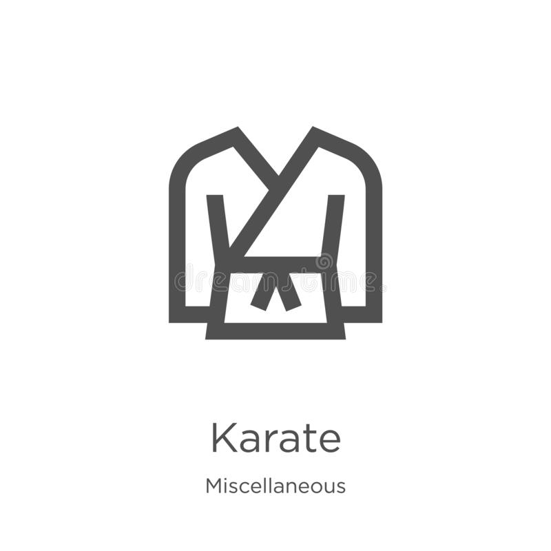karate icon vector from miscellaneous collection. Thin line karate outline icon vector illustration. Outline, thin line karate royalty free illustration