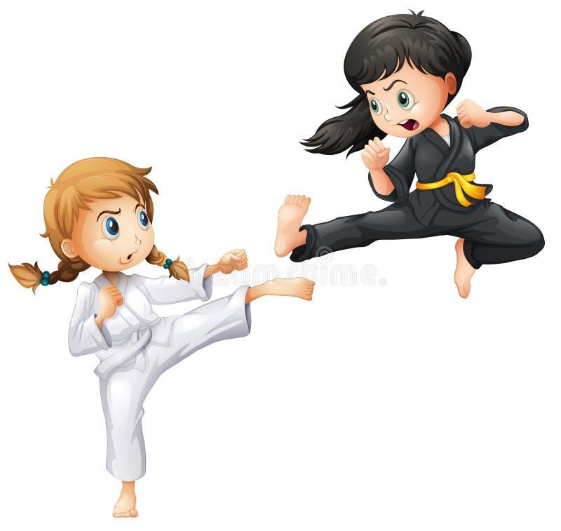 Karate. Illustration of girls doing karate stock illustration