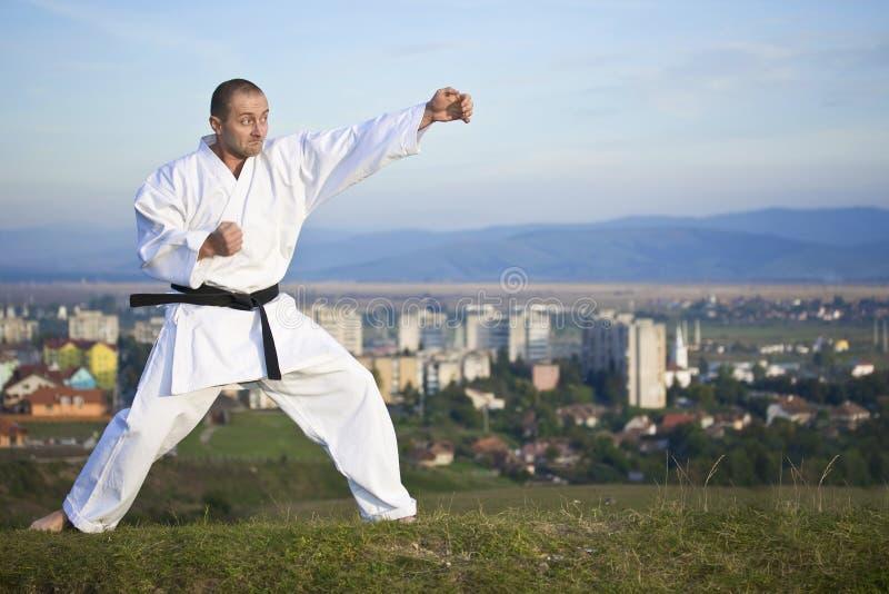 Karate im Freien stockbilder