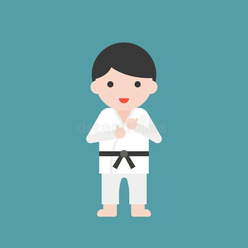 Karate or judo athlete, cute character professional set, flat de royalty free illustration