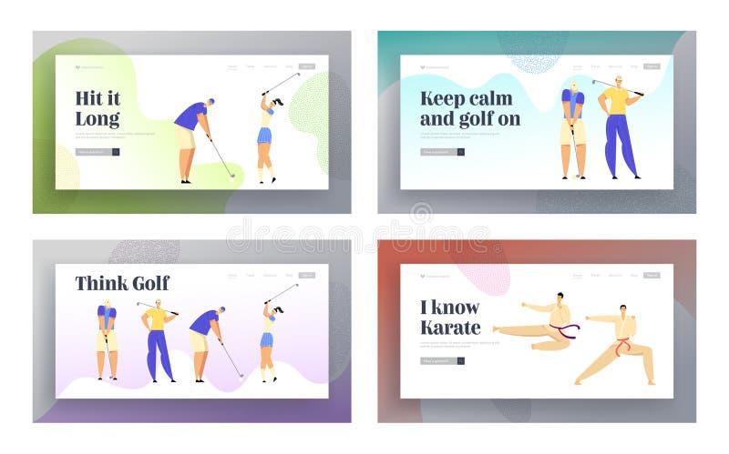 Karate-Kampf-Wettbewerb, Golf-Turnier-Sport-Leben-Website-Landungs-Seiten-Satz, Sportler im Kimono-Zusammentreffen lizenzfreie abbildung