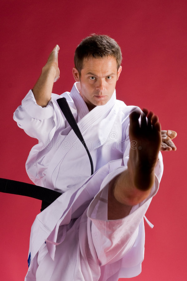 Karate kick. A Model in a Karate Kimono with black belt(level) in a kicking pose, on a red background royalty free stock image