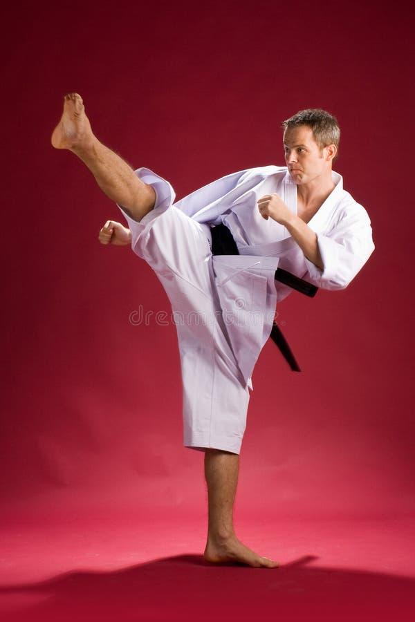 Karate Kick. Man wearing Gi (Karate uniform) and black belt shown in a kick stock photography