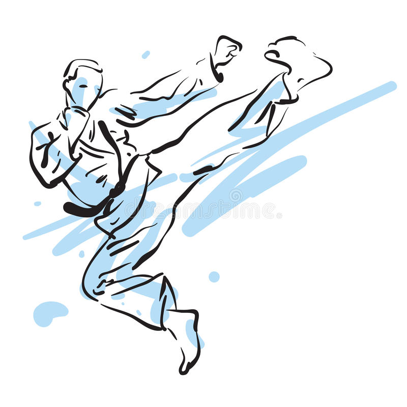 Karate kick. Karate jump side kick, vector illustration stock illustration