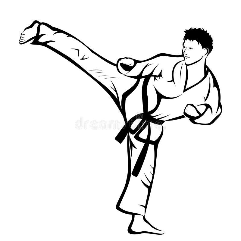 Karate kick. Vector illustration : Karate kick on a white background stock illustration
