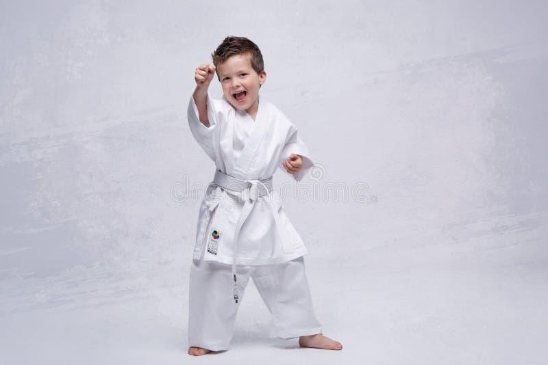 Karate Kid grita, kiai imagenes de archivo