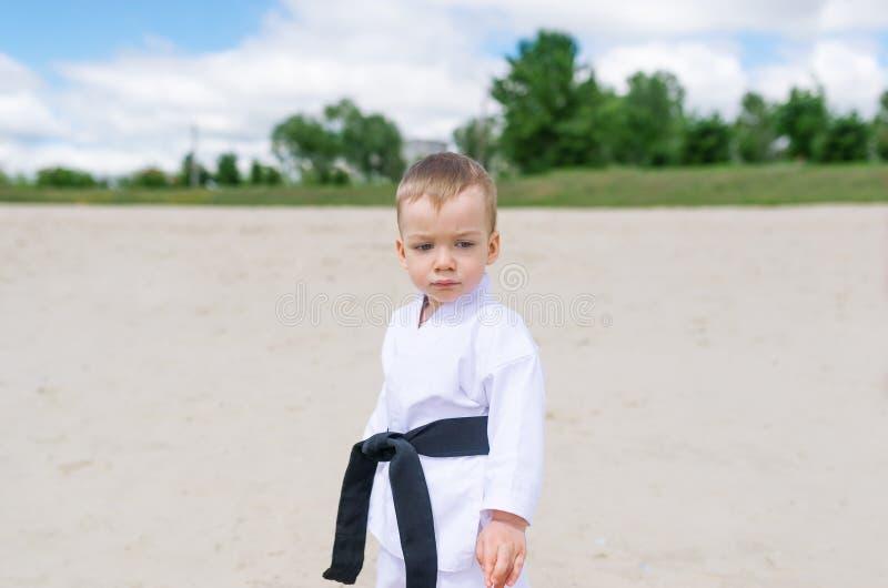 Karate kid - portrait of little boy in the kimono royalty free stock image