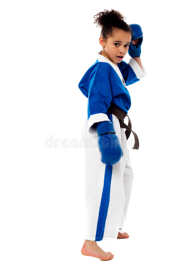 Karate kid ready for the bout stock photo