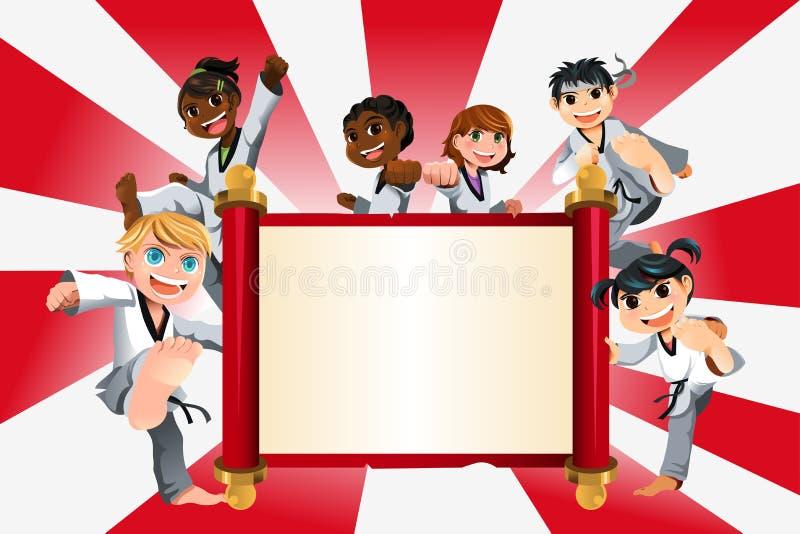 Karate kids banner. A vector illustration of a banner with kids practicing karate royalty free illustration