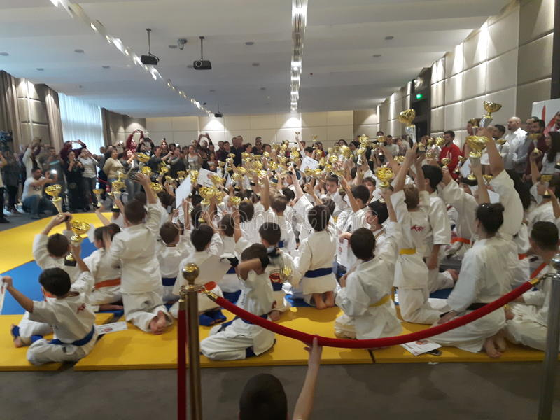 Karate kids. 20 november 2016- Bucharest, Romania. A kyokushin karate event at the end stock photo