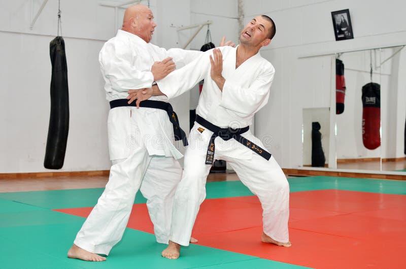 Karate kopnięcia lekcja obraz royalty free