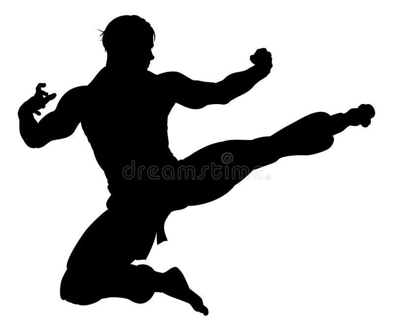 Karate Kung Fu Flying Kick Man Silhouette. An illustration of karate or kung fu martial artist delivering a flying kick in silhouette royalty free illustration