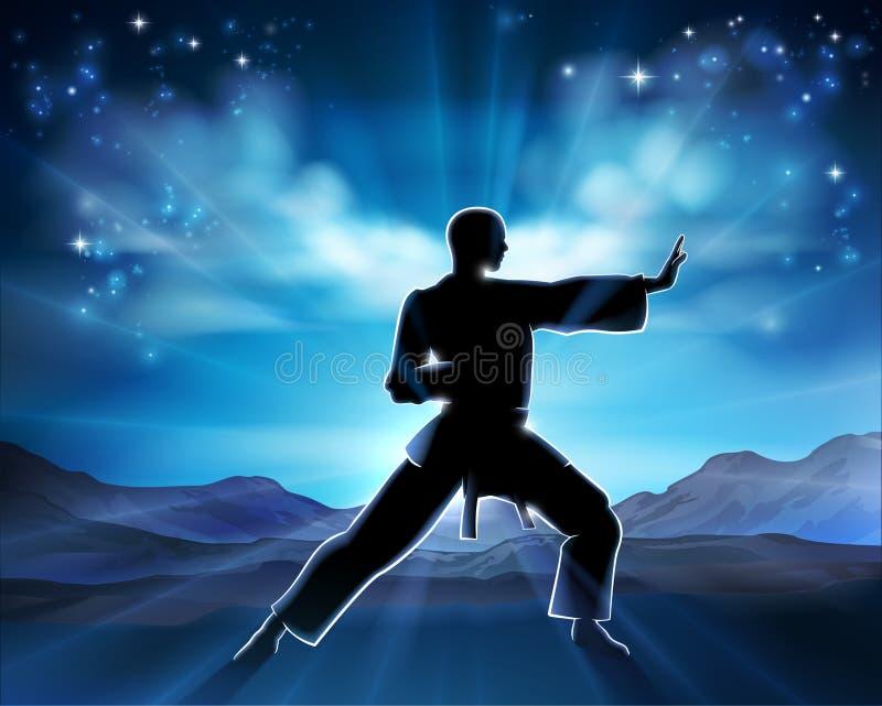 Karate Kung Fu Man Silhouette Concept royaltyfri illustrationer