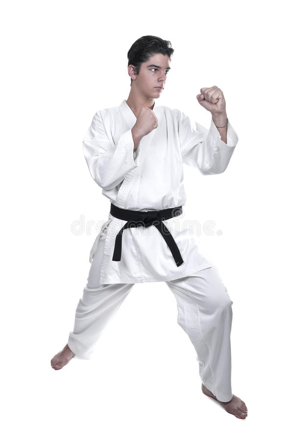 Karate male fighter young royalty free stock image